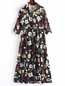 No Spring and Summer Floral 3/4 Shirt Ankle-Length Straight Day Fashion Button Up Floral Shirt Maxi Dress