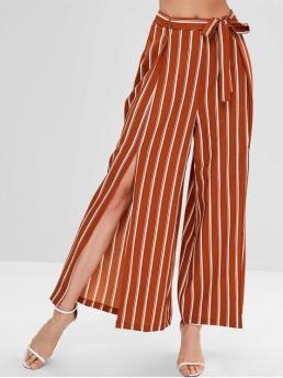 Fall Yes Zipper Wide Striped Loose High Casual High Slit Striped Belted Pants