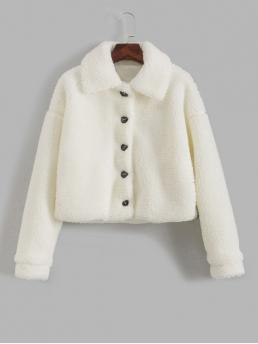 Autumn Solid Turn-down Drop Full Regular Wide-waisted Casual Fur Daily Button Up Solid Faux Fur Jacket