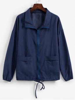 No Nonelastic Autumn and Spring and Winter Pockets Solid Zipper Turn-down Drop Full Regular Wide-waisted Fashion Jackets Going Dual Pocket Drawstring Hem Zip Front Jacket