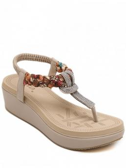 PU 5CM Rhinestone Others Slip-On Platform T-Strap Casual Fashion For Platform T-Strap Rhinestone Sandals
