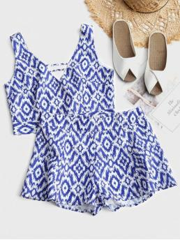 No Summer Print Flat Zipper High Sleeveless V Regular Casual Casual and Going Cropped Printed Tied Top and High Waisted Shorts Set