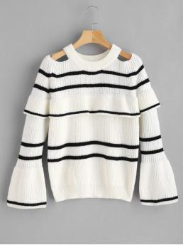 Autumn and Winter Cut Striped Elastic Full Crew Regular Regular Fashion Daily Pullovers Stripes Cold Shoulder Ruffles Sweater