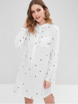 No Fall and Spring Others Embroidery and Pockets Long Shirt Knee-Length Shirt Straight Casual and Day and Vacation Casual Embroidered Half Button High Low Dress