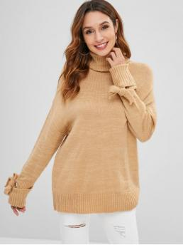 Tie Solid Nonelastic Full Drop Turtlecollar Regular Loose Casual Pullovers Knotted Cuffed Sleeves Turtleneck Sweater