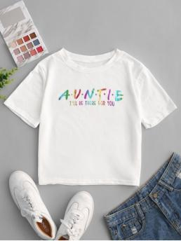 Autumn and Summer Letter Elastic Short Round Crop Fashion Glittery Slogan Graphic Cropped Tee