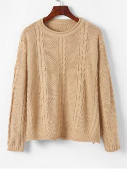 Autumn and Spring and Winter Solid Elastic Full Drop Round Regular Loose Fashion Daily Pullovers Pullover Drop Shoulder Cable Knit Sweater