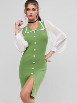 No Fall Elastic Others Button and Slit Long Turn-down Knee-Length Bodycon Casual and Day Fashion Chiffon Sheer Two Tone Slit Knit Pencil Dress