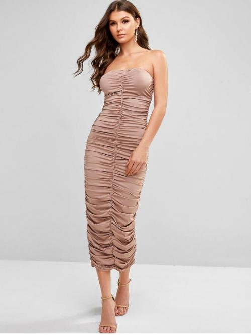 No Fall Elastic Solid Ruched Sleeveless Strapless Mid-Calf Bandeau Bodycon Holiday Sexy Ruched Bodycon Bandeau Dress