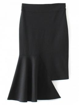 Fall Solid Trumpet/Mermaid Mid-Calf Asymmetric Trumpet Skirt