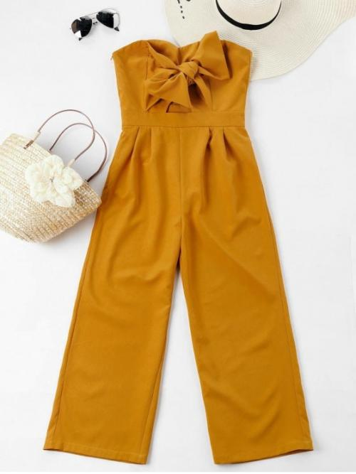 Spring and Summer No Solid Sleeveless Strapless Normal Regular Fashion Casual  and Daily Bowknot Tube High Waisted Jumpsuit