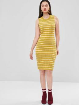 No Fall and Spring Striped Sleeveless Round Knee-Length Sheath Day and Night Fashion Stripes Sheath Sweater Dress