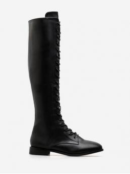 PU Lace-Up Solid Flat Round Knee-High Winter Fashion For Solid PU Leather Lace Up Knee High Boots