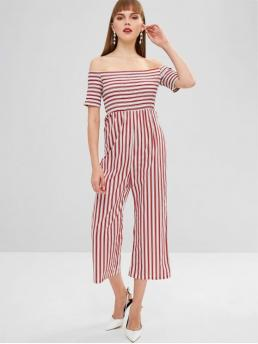 Fall No Striped Short Off Loose Casual Daily Off Shoulder Smocked Striped Loose Jumpsuit