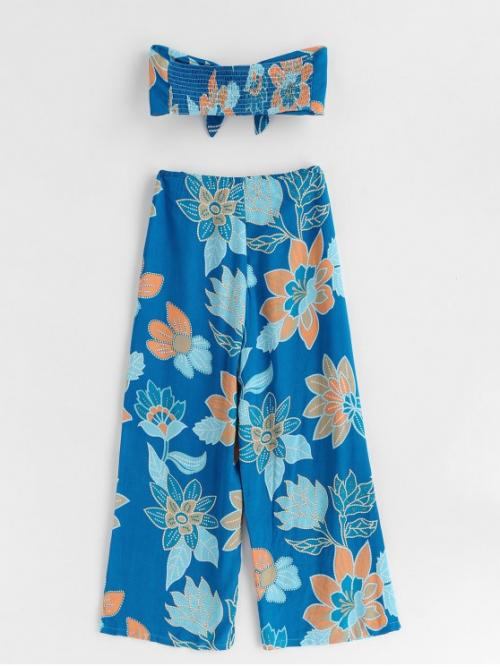 Blue Summer Print Flat Zipper High Sleeveless Bandeau Regular Boho Beach Print Knot Bandeau Top and Pants Set