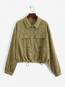 Full Sleeve Wide-waisted Polyester Solid Zip up Corduroy Cargo Jacket Cheap