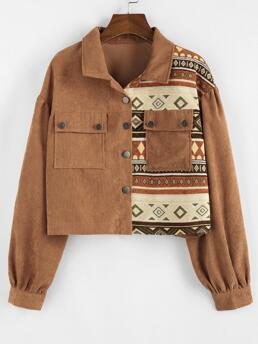 Trending now Full Sleeve Wide-waisted Cotton,polyester Tribal Print Patchwork Cropped Corduroy Jacket