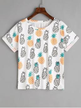 Summer Pineapple Short Round Regular Fashion Rolled Up Sleeve Fruits T Shirt