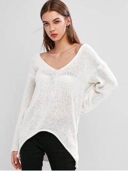 Autumn Solid Nonelastic Full Drop Plunging Long Loose Fashion Daily Pullovers Drop Shoulder Plunging High Low Sweater