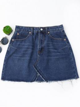 Deep Blue No Others A-Line Mini Denim High Waisted Cutoffs Mini Denim Skirt
