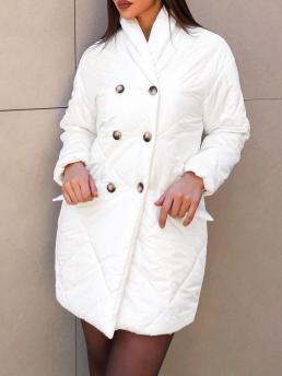 Long Sleeves Wide-waisted Polyester,spandex Solid Flap Detail Puffer Coat Trending now