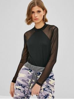 Spring and Summer No Solid Long Crew Slim Fashion Daily Mesh Panel Long Sleeve Bodysuit