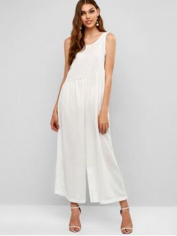 Spring and Summer No Solid Nonelastic Sleeveless Round Normal Loose Fashion Going Plain Open Back Wide Leg Jumpsuit