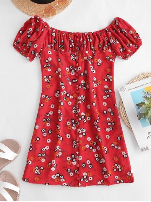 No Summer Nonelastic Floral Button Short Scoop Mini A-Line Vacation Fashion Back Zipper Buttoned Floral Dress