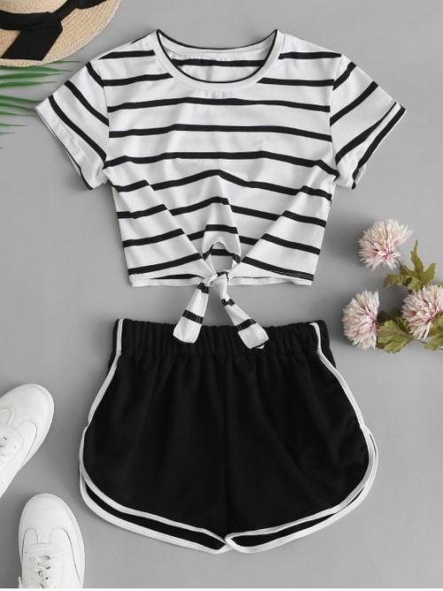 Summer Striped Flat Elastic Mid Short Round Regular Casual Casual Striped Knotted Crop Tee and Shorts Set