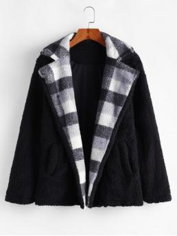 Autumn Button and Pockets Plaid Lapel Full Regular Wide-waisted Fur Daily Fashion Fuzzy Plaid Coat