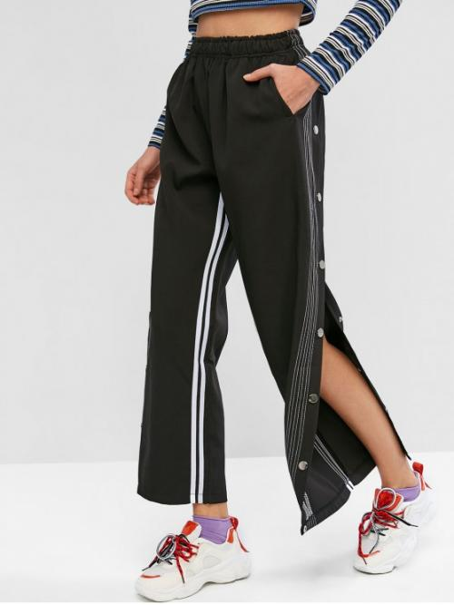 Fall and Spring No Nonelastic Elastic Wide Normal Striped Button and Pockets Flat Regular High Fashion Pockets Snap Button Stripes Panel Wide Leg Pants