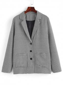 Women's Full Sleeve Cotton,polyester Houndstooth Black Dual Patch Pocket Blazer