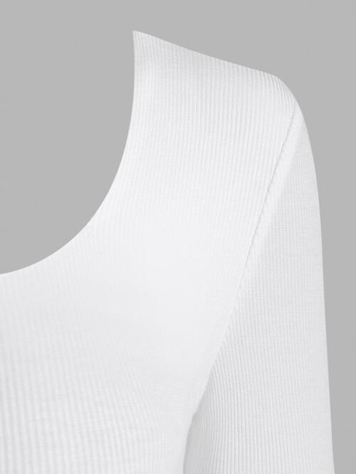 Discount Long Sleeves Cotton,polyester Solid Color White Ribbed Snap Crotch Long Sleeve Bodysuit
