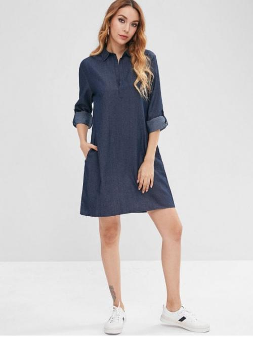 Fall No Solid Long Cuff Shirt Mini Straight Casual and Going Casual Cuffed Sleeves Loose Chambray Dress