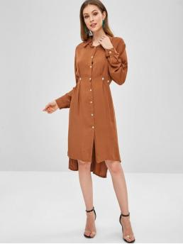 No Fall and Spring Solid Button Long Shirt Mid-Calf Shirt A-Line Casual and Day Brief Casual High Low Slit Shirt Dress