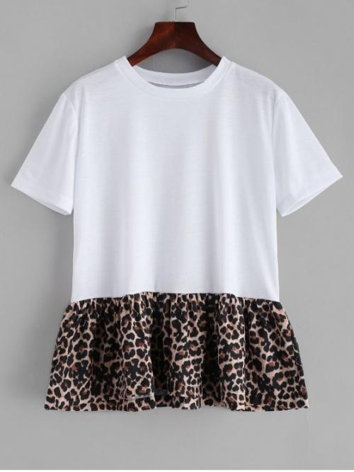 Spring and Summer Leopard Short Round Casual Leopard Skirted T-shirt
