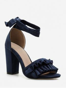 Summer PU Rubber Others Buckle Chunky Ankle Casual and Club and Daily Fashion and Mature For Chunky Heel Ruffle Design Sandals