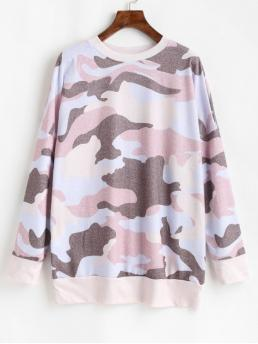 Autumn and Spring Camouflage Full Drop Round Casual Camouflage Print Drop Shoulder Long Sleeve T-shirt
