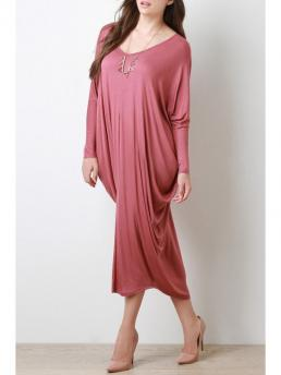 No Fall and Spring Solid Long Round Mid-Calf Straight Casual Casual Long Sleeve Baggy Style Dress
