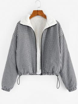 Women's Full Sleeve Wide-waisted Polyester Gingham Faux Fur Lining Coat