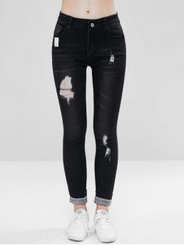 Elastic Fall and Spring and Winter Frayed and Pocket Zipper Mid Skinny Normal Dark Denim Fashion Distressed Cuffed Skinny Jeans