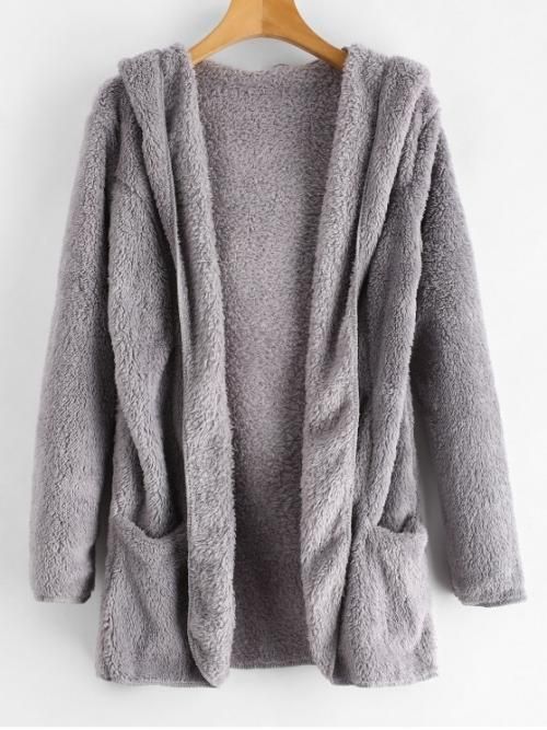Autumn and Spring and Winter No Pockets Solid Hooded Full Long Wide-waisted Daily Fashion Fluffy Hooded Open Front Teddy Coat