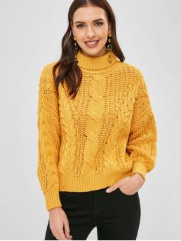 Autumn and Spring and Winter Solid Micro-elastic Full Drop Turtlecollar Regular Loose Fashion Daily and Going Pullovers Loose Turtleneck Cable Knit Sweater