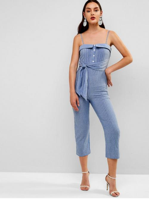 Summer No Pleated Striped Sleeveless Spaghetti Regular Casual Casual Buttoned Pleated Striped Cami Jumpsuit