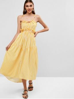 No Summer Nonelastic Striped Ruffles Sleeveless Spaghetti Ankle-Length A-Line Day and Vacation Fashion Tied Straps Striped Ruffles Maxi Dress