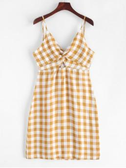 No Summer Empire Plaid Cut Sleeveless Spaghetti Mini A-Line Vacation Casual Twist Front Plaid Empire Waist Cami Dress