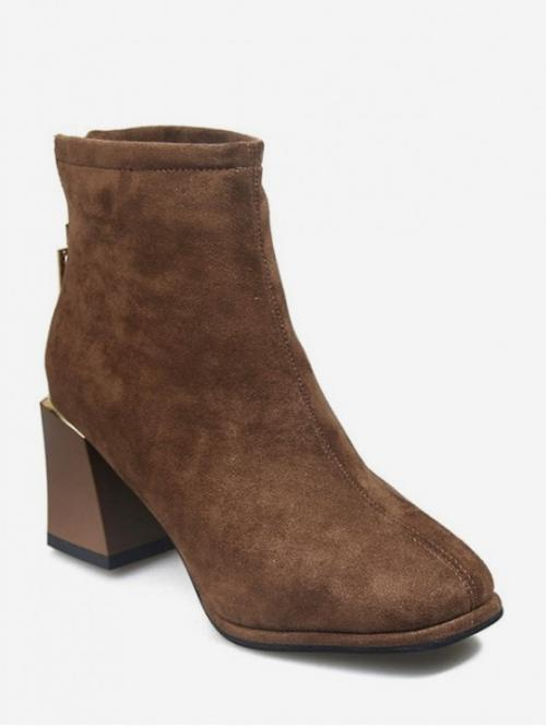 Trendy Suede Zip Geometric 7CM Chunky Round Ankle Spring/Fall Fashion For Plain Square Toe Suede Ankle Boots