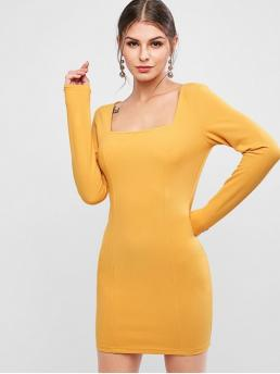 No Fall Elastic Solid Long Square Mini Bodycon Day and Holiday and Work Elegant Square Collar Long Sleeve Bodycon Dress