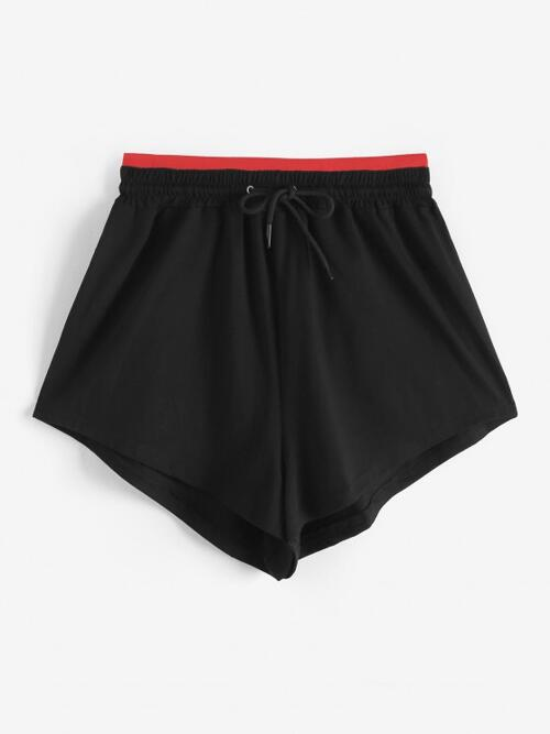 Black Pull on Shorts Others Loose Contrast Waistband Shorts Cheap