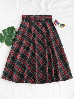 Fall and Spring Zipper Plaid A-Line Mid-Calf Daily and Going Fashion Buckled Belted Tartan Midi Skirt